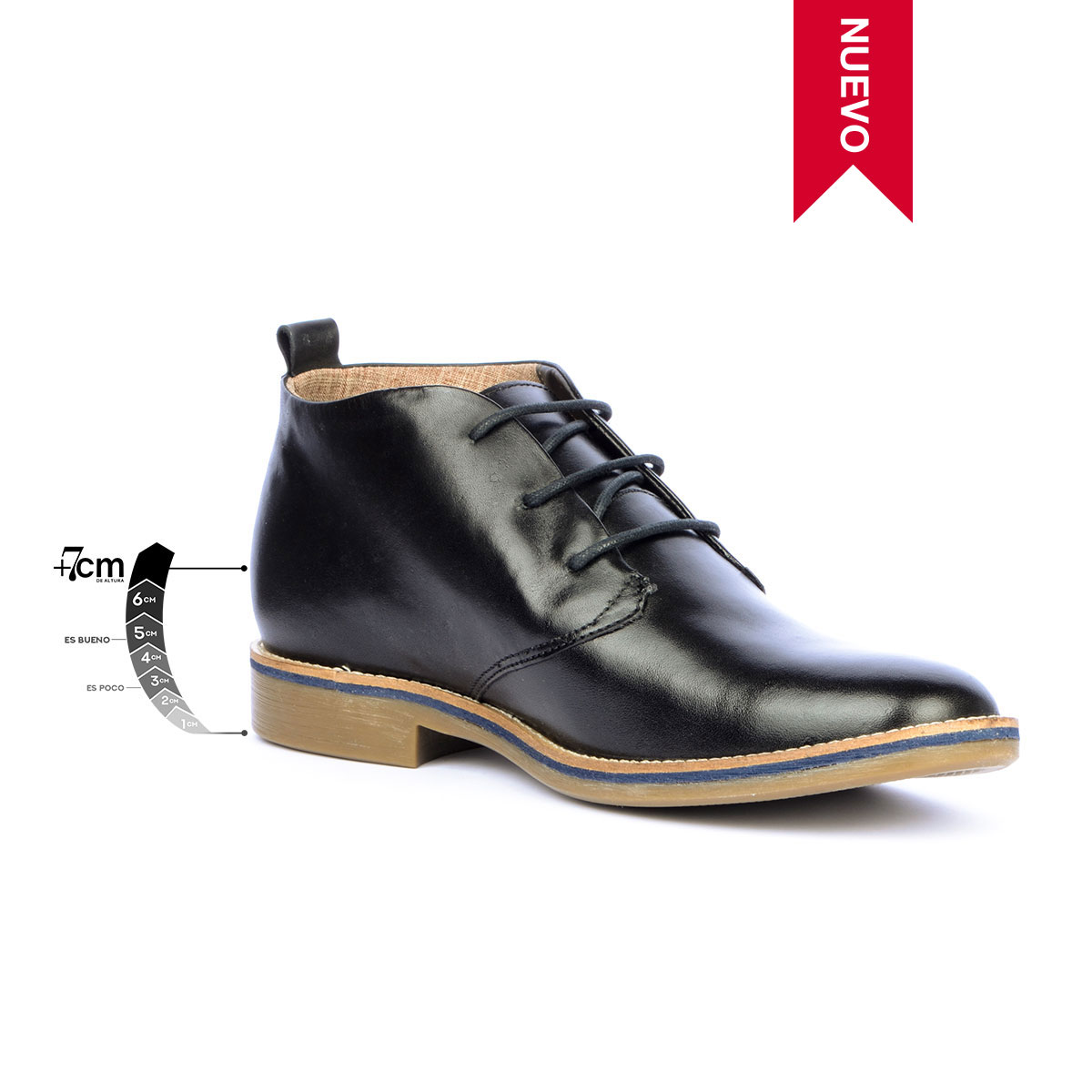Botín Casual Indiana Negro Max Denegri + 7cms de Altura_76277