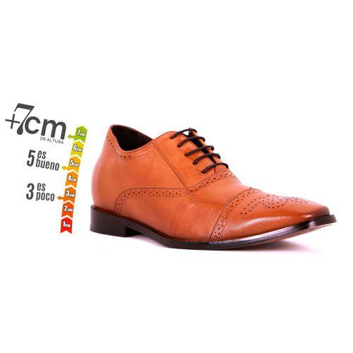 Zapato Formal British Café Claro Max Denegri + 7 cms de Altura