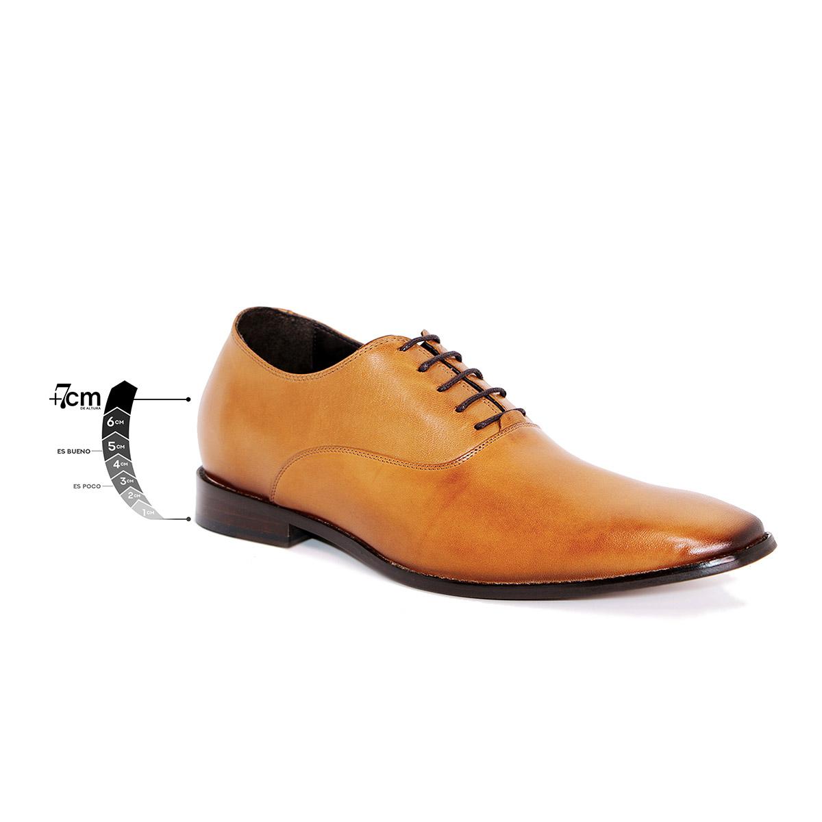 Zapato Formal Elegant Café Claro Max Denegri +7cm de Altura_75305